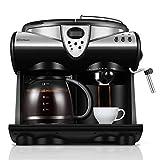 LHJCN Kaffeeautomat,Kaffeeautomat mit Mahlwerk, Für Kaffeebohnen und Filterkaffee, Timerfunktion, 20 Bar, 12 Tassen,1850W, Black