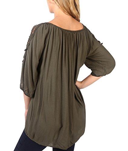 KRISP® Damen Gehäkelte Schulterlöcher Kurzarm Bluse Khaki (5442)