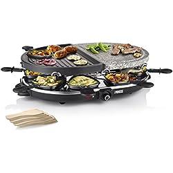 Princess 162710 Oval Stone Grill Party – Parrilla de piedra y raclette combinadas para 8 personas