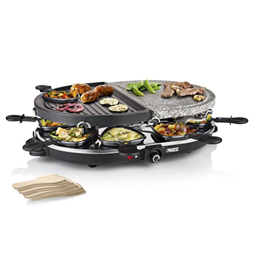 Princess 01.162710.01.001 8 oval stone & grill party combinazione di raclette/barbecue