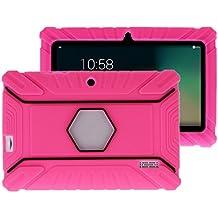 """Fukalu Funda de la Cubierta 7 pulgadas de silicona a prueba de golpes para los niños para Jeja La tableta de 7 """"Dragón táctil de 7 pulgadas, iRULU X1S Tablet de 7 pulgadas, Yuntab Q88 A33 7 pulgadas, iRULU niños de 7 pulgadas, Alldaymall A88X Tablet 7 pulgadas, ibowin P740 7 Pulgadas (Rose Red)"""