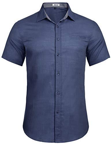 Sykooria Business Freizeit Hemd Herren Kurzarm Regular Fit Leicht Button Down Männer Shirt Baumwolle Hemden