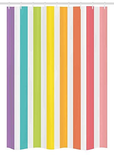 Nyngei Modernes Dekor Duschkabine Vorhang Zirkus Thema Regenbogen farbiges Bild Fett Streifen mit leeren Hintergrundbild Stoff Badezimmer Dekor Set mit Multicolor