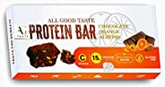 AG Taste 15G Protein Bar-Glutenfree, Sugarfree Chocolate Orange Almond -270 g (6x45g), Pack of 6 bars- Pre-Pos