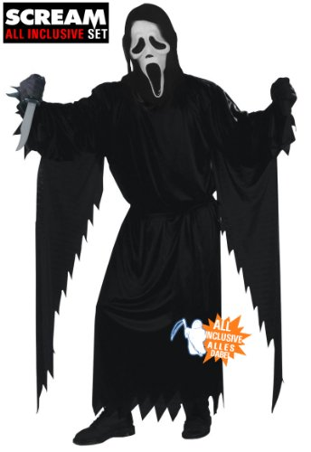 All inclusive Scream Ghostface Halloween Kostüm Set 2013 original Scream Maske mit Haube, Kutte (Erwachsenengröße one size fits most), Handschuhe, original Scream Messer