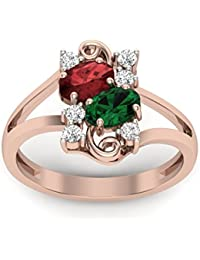 Perrian 18KT Gold , Diamond, Emerald And Ruby Ring For Women