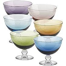 6 x Eiscremeglas, Eisbecher, Eisschale ~PICCOLO~ 6-farbig, 10 cm, Glas (GELATO VERO powered by CRISTALICA)