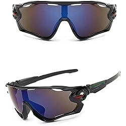 Zolimx Nuevas Gafas de Sol de la Lente UV400 Que Completan un Ciclo Los Vidrios de Ciclo de la Bici de Montaña de Los Deportes (Negro)