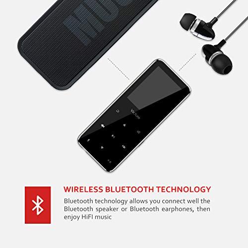 Victure Reproductor MP3 Bluetooth 8GB con Botón Táctil Reproductor de Música Digital con Auriculares con Cable,  Altavoz Incorporado,  Radio FM,  Podómetro,  Soporte hasta 64 GB