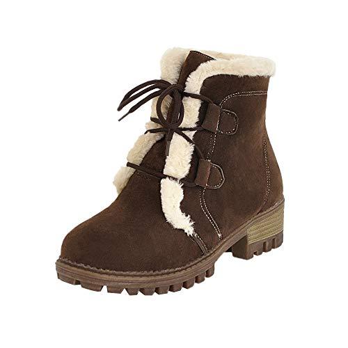 UFACE Damen Freizeit Plus SAMT Schuhe Warm halten Lace-Up Rutschfeste Round Toe Schneestiefel
