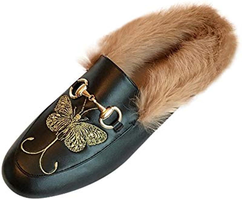 DAMENGXIANG Femmes Mules Pantoufles en en en Peluche Automne Hiver Mode Broderie Papillon Chaude Non Slip Flat Muller...B07JVHQRRPParent 52b7fc