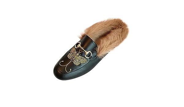 DAMENGXIANG Femmes Mules Plush Pantoufles Automne Hiver Mode Denim Non Slip Flat Muller Chaussures Porter /À LExt/érieur