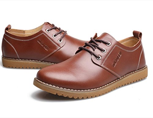 WZG chaussures en cuir décontractée de la Nouvelle-Angleterre hommes pour aider à marée basse respirant chaussures de société occasionnels Flats 9.5 Brown