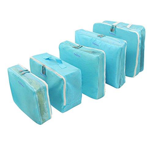 Kleidertaschen Set 5-teilig Nylon wasserdicht Netzgewebe Reisetasche in Koffer Wäschebeutel Schuhbeutel Kosmetik Aufbewahrungstasche in 5 Farbe auswählbar