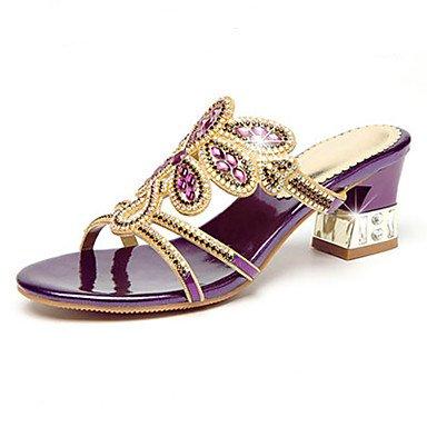 zhENfu Donna Sandali Comfort Novità microfibra sintetico PU Estate Autunno Abbigliamento Casual Walking Comfort Novità Rhinestone Stiletto HeelPurple Purple