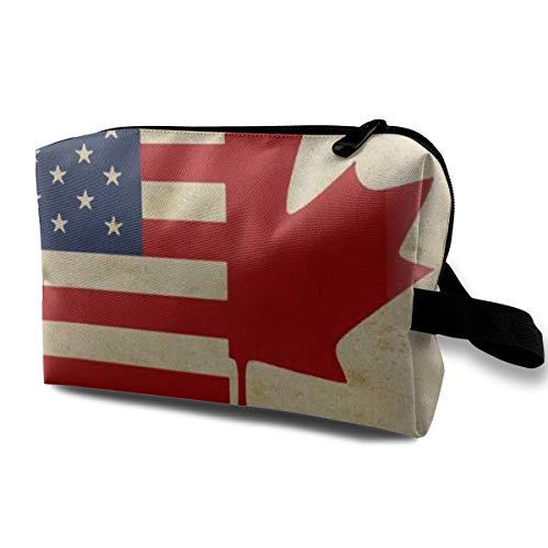 Vintage USA Kanada Flags Make-up Tasche Kulturbeutel Travel Cosmetic Portable Pouch Bürsten Tasche