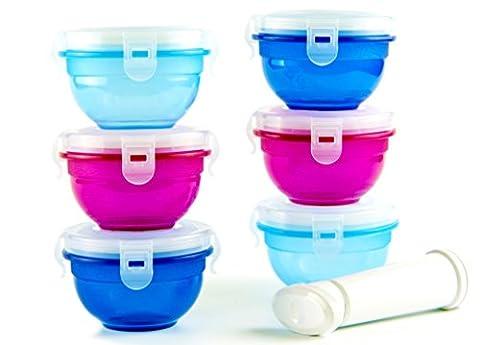 Petites Boîtes de Conservation pour Nourriture de Bébés et Enfants avec Pompe à Vide - 7 Pièces boîtes alimentaires bébé sans BPA | Bols hermétiques étanches à l