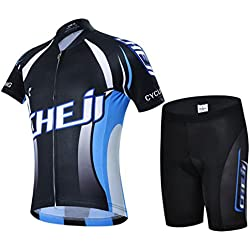 gwell Niños–Rueda equipación de ciclismo para niño Chica Manga Corta + pantalones con asiento acolchado, color Negro , tamaño extra-large