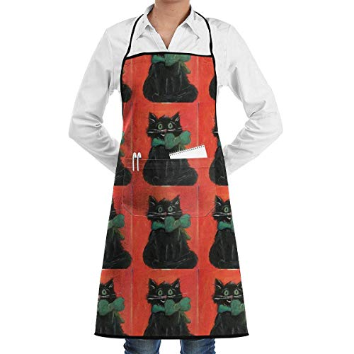 Drempad Schürzen Black Cat Halloween Kitty Adjustable Bib Apron with Pockets - Commercial Restaurant and Home Kitchen Apron - Neck Strap- Extra Long Ties - Strong Black Sexy Pink Kitty