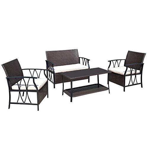 Wicker Deck (HAOHAODONG 4 PC Gartenmöbel Set Außenterrasse Schnitt PE Wicker Rattan Deck Tisch Sofa Stühle Set mit Kissen)