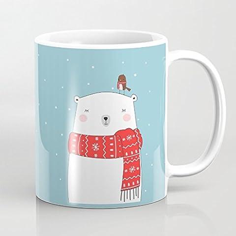 quadngaagd Ours Polaire Petit Oiseau 11-Ounce Mug Tasse à Café Tasse à thé Blanc