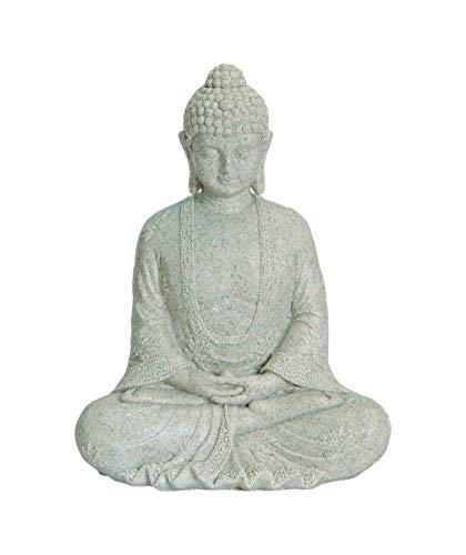 WOMA–Figura de Buda Sentado de Resina estación Fijo, decoración para Hogar, Hogares y jardín, 23cm de Alto, Escultura para Interior y Exterior, Color Beige