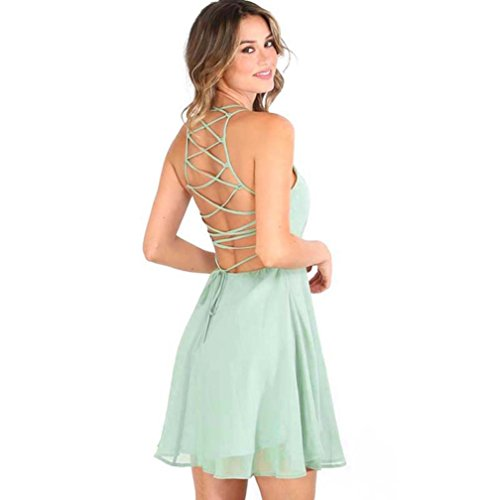 nikleid Damen, DoraMe Frauen ärmellose Party Kleid Mode Frühling Sommer O-Hals Cocktail Kleid Rückenfrei Verband Abend-Kleid (Grün, Asien Größe S) (Gatsby-mode Frauen)