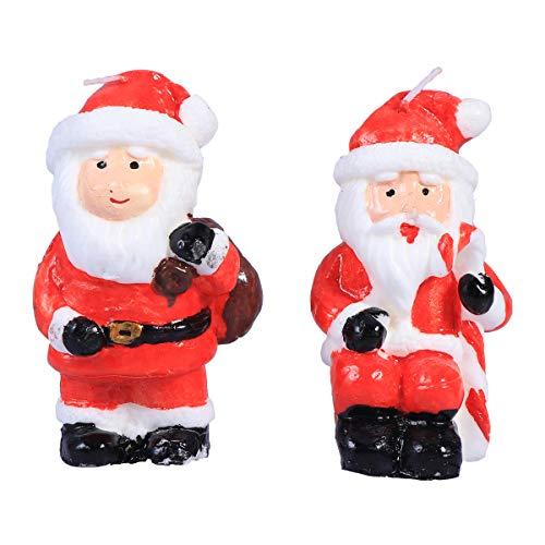 BESTOYARD 2pcs Navidad Santa Claus Velas Decoraciones Adornos Fiesta navideña favorece