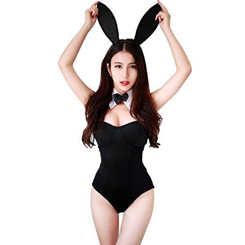 Schlafzimmer Kostüm - TARTIERY Frauen Sexy Bunny Kostüm Sexy Schlafzimmer Outfits Liebhaber Schulmädchen Kostüm Spitze Body Kaninchen Outfit Dessous Set Cosplay Kostüm Mit Häschenohren Schwarz