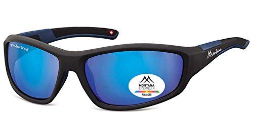 Occhiali con lenti polarizzate SP 311 B, in plastica, colore: nero opaco, polarizzati, colore: grigio con effetto specchio