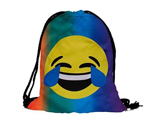 Hipster Turnbeutel / Gym Bag / Sporttasche Emoji / Emoticon Smiley Turnbeutel / von Alsino (RU-122 Tränen lachen bunt)