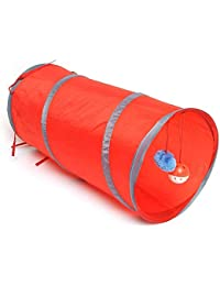 Red Kicode with Ring Bell Toy Pet Tunnel Foldable Collapsible Colorful 55Cm Fun