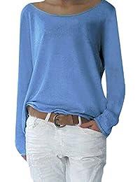 Yidarton Damen Langarm T-Shirt Rundhals Ausschnitt Lose Bluse Hemd Pullover Oversize Sweatshirt Oberteil Tops