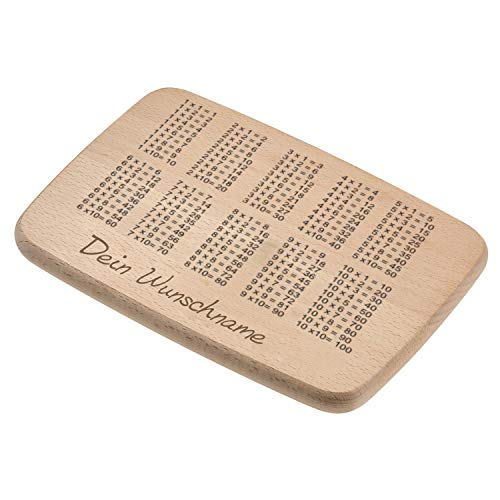 elasto Personalisiertes Frühstücksbrettchen 1x1 für Kinder Holzbrett mit Namen zum Lernen Brotzeitbrett mit Lerneffekt - Schönes Geschenk zur Einschulung für Jungs und Mädchen 22 x 15 x 1,5cm