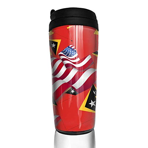 Travel Coffee Mug Timor-Leste Flag with America Flag 12 Oz Spill Proof Flip Lid Water Bottle Environmental Protection Material ABS
