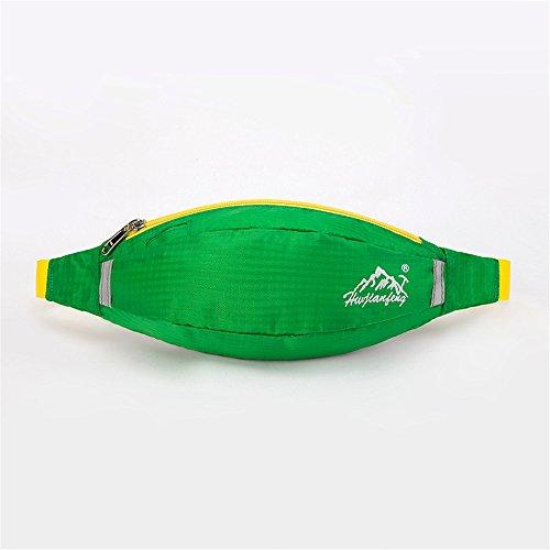 Wewod 600 D Nylon Wasserdicht Gürteltasche/Sport Hüfttasche-Exklusive Öffnung für Kopfhörer-Reflexstreifen für Nachtsichtbarkeit-zum Laufen und Reisen Entwickelt (Grau) Gr¨¹n