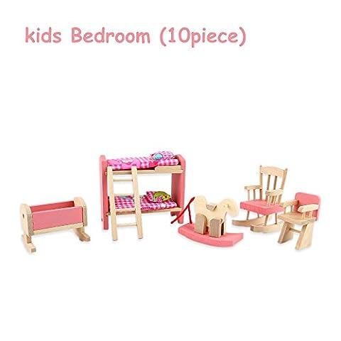 JouerNow En Bois Rose Maison de poupées Meubles Set 10