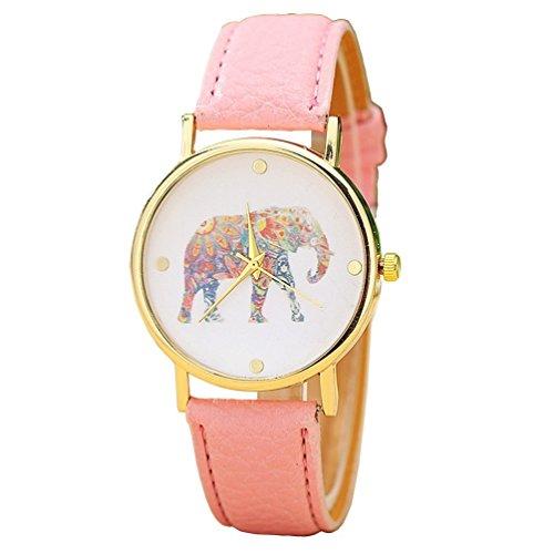 vavna Mujeres de Gran Colorido Elefante Imprimir Dial de Oro Reloj de Pulsera para Mujer de Cuarzo de Piel Color Rosa