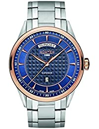 Roamer Superior Day Date Men's Quartz Watch with Blue Dial Analogue Display and Silver Stainless Steel Bracelet