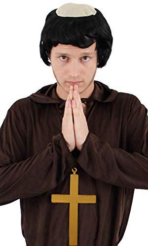 Tuck Friar Kostüm - ILOVEFANCYDRESS Mönch-Zubehör-Set für Kostüm-Kostüm, goldfarbenes Kreuz + Perücke, Friar Tuck Cleriy ...