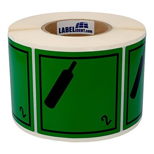 Labelident Gefahrgutaufkleber (100 x 100 mm) - Klasse 2.2 - Nicht-brennbares und giftiges Gas, 2-1000 Gefahrgutetiketten, Vinyl Folie, grün, permanent haftend