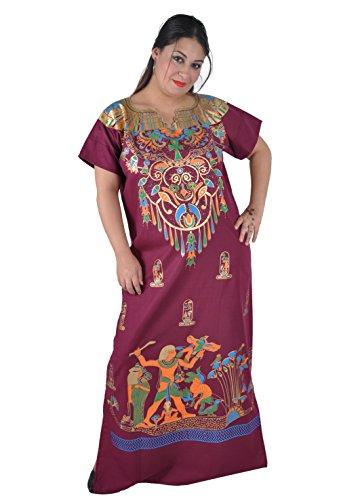 Cleopatra Pharao Kostüm Damen-Kaftan Faschingskostüm Karnevalskostüm Ägypterin, weinrot (XL (48-50))