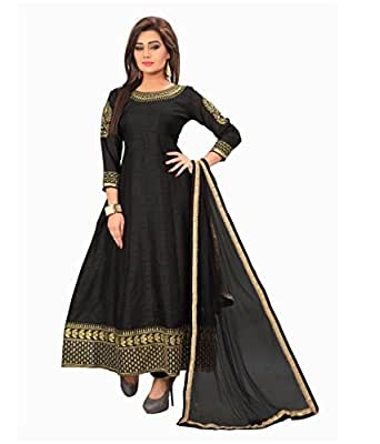 Aarvicouture Women's gown Latest Party Wear Black Georgette silk Embroidery Free Size Salwar Suit