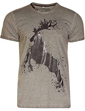 MarJo Herren Herren Trachten T-Shirt mit Hirsch Hunter, Hunter (Oliv),