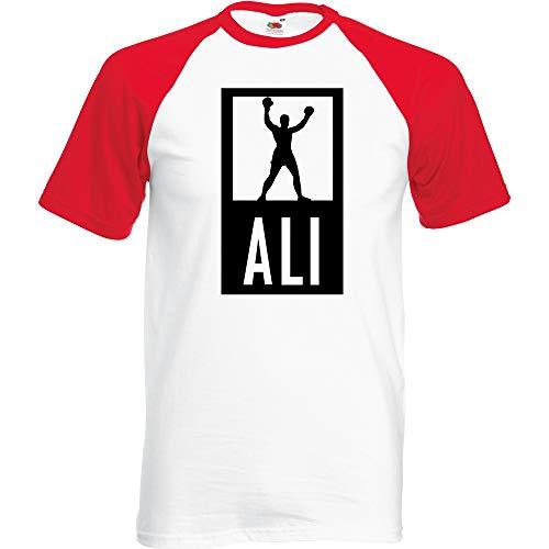Ali Baseball T-Shirt Weiss Rot (Schwarz, L) -