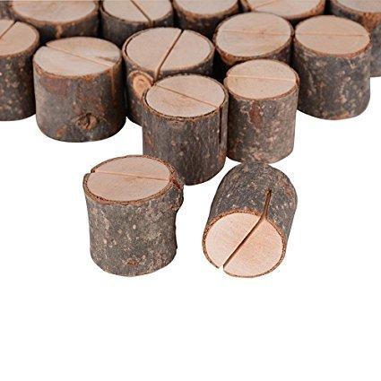Aoner 40 pz segnaposto legno forma tronco supporto numero posto titolare portafoto decorazione tavolo bomboniera matrimonio memo holder