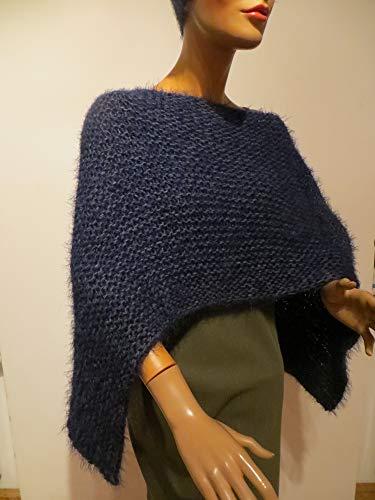 Damen Poncho dunkelblau, kuschelweich,handgestrickt, alle Ponchos kann man auch unter einem Mantel - Jacke tragen
