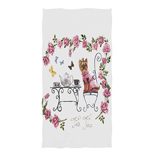 Wamika Yorkshire Terrier Handtücher Welpen Blume Badezimmer Handtuch schnell trocknend saugfähig Handtuch für Gesicht Gym Spa für Teenager Mädchen Erwachsene Reisen Pool Fitnessstudio 76 x 38 cm -