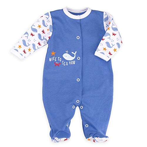 Baby Sweets Baby Strampler Jungen blau   Motiv: Nice to Sea You   Babystrampler mit Walmotiv für Neugeborene & Kleinkinder   Größe 9 Monate (74) ...