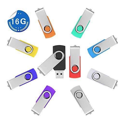 WGii 10 Stück 16GB USB Stick Speicherstick Rotate Metall Mehrfarbig High Speed USB 2.0 Flash Drive